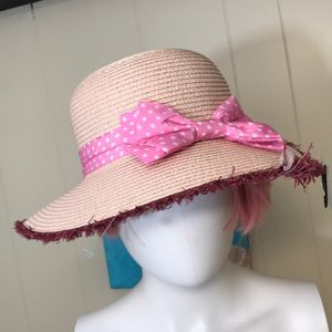 Nicole Marciano straw hat pink bow